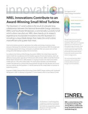 Primary view of object titled 'NREL Innovations Contribute to an Award-Winning Small Wind Turbine (Fact Sheet)'.