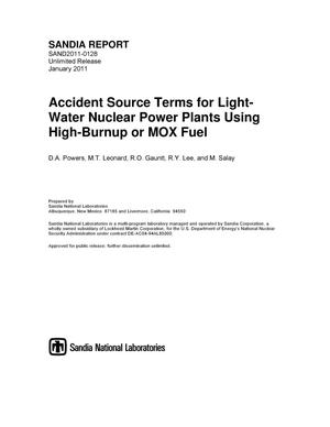 Primary view of object titled 'Accident source terms for light-water nuclear power plants using high-burnup or MOX fuel.'.