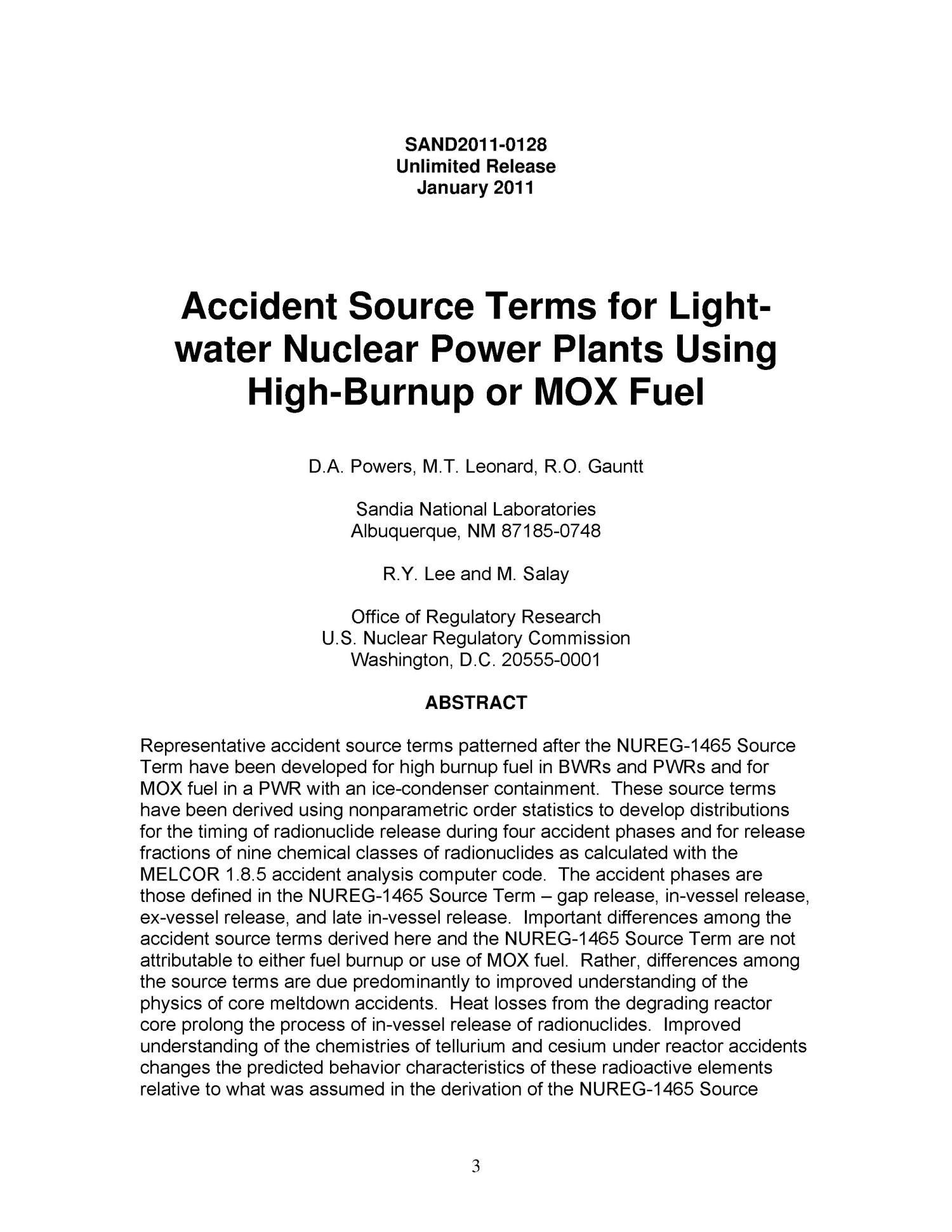 Accident source terms for light-water nuclear power plants using high-burnup or MOX fuel.                                                                                                      [Sequence #]: 3 of 60