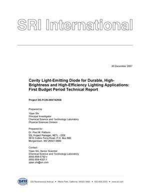 Primary view of object titled 'Cavity Light-Emitting Diode for Durable, High-Brightness and High-Efficiency Lighting Applications: First Budget Period Technical Report'.