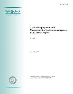 Primary view of object titled 'Tactical Deployment and Management of Autonomous Agents, LDRD Final Report'.