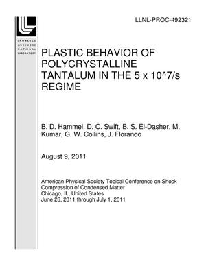 Primary view of object titled 'PLASTIC BEHAVIOR OF POLYCRYSTALLINE TANTALUM IN THE 5 x 10^7/s REGIME'.