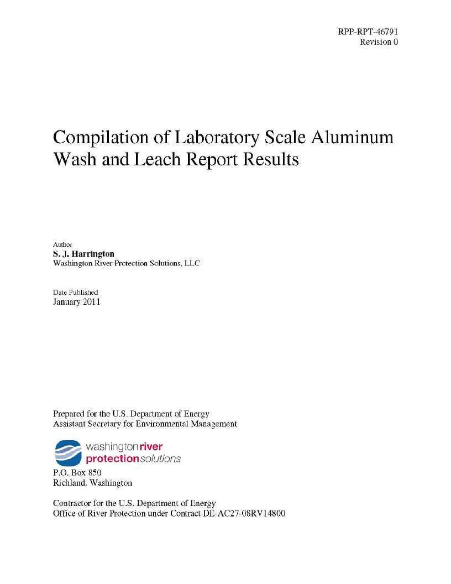 COMPILATION OF LABORATORY SCALE ALUMINUM WASH AND LEACH REPORT RESULTS                                                                                                      [Sequence #]: 2 of 133
