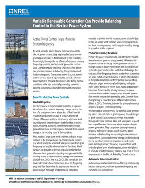 Primary view of object titled 'Variable Renewable Generation can Provide Balancing Control to the Electric Power System (Fact Sheet)'.
