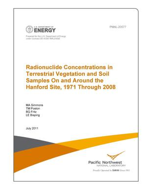 Primary view of object titled 'Radionuclide Concentrations in Terrestrial Vegetation and Soil Samples On and Around the Hanford Site, 1971 Through 2008'.