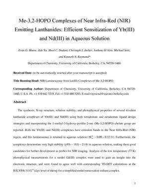 Primary view of object titled 'Me-3,2-HOPO Complexes of Near Infra-Red (NIR) Emitting Lanthanides: Efficient Sensitization of Yb(III) and Nd(III) in Aqueous Solution'.