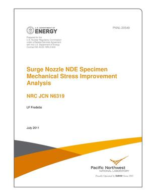 Primary view of object titled 'Surge Nozzle NDE Specimen Mechanical Stress Improvement Analysis'.