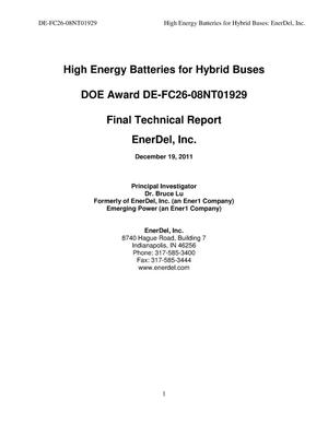 Primary view of object titled 'High Energy Batteries for Hybrid Buses'.