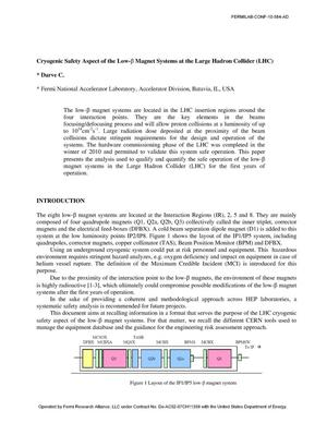 Primary view of object titled 'Cryogenic safety aspect of the low -$\beta$ magnest systems at the Large Hadron Collider (LHC)'.