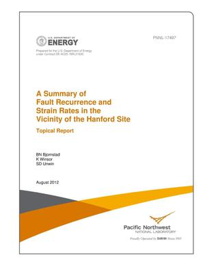 Primary view of object titled 'A Summary of Fault Recurrence and Strain Rates in the Vicinity of the Hanford Site--Topical Report'.