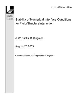Primary view of object titled 'Stability of Numerical Interface Conditions for Fluid/Structure Interaction'.