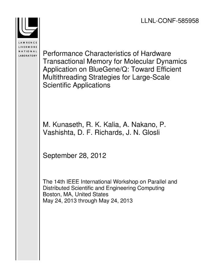 Performance Characteristics of Hardware Transactional Memory