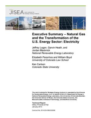 Primary view of object titled 'Executive Summary - Natural Gas and the Transformation of the U.S. Energy Sector: Electricity'.