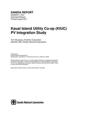 Primary view of object titled 'Kauai Island Utility Co-op (KIUC) PV integration study.'.
