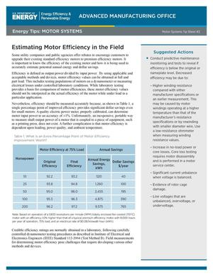 Primary view of object titled 'Estimating Motor Efficiency in the Field, Motor Systems Tip Sheet #2 (Fact Sheet)'.