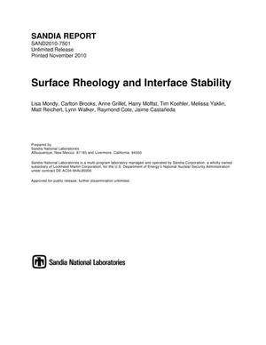 Primary view of object titled 'Surface rheology and interface stability.'.