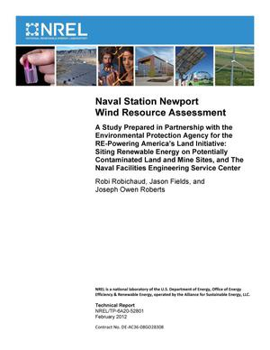 Primary view of object titled 'Naval Station Newport Wind Resource Assessment. A Study Prepared in Partnership with the Environmental Protection Agency for the RE-Powering America's Land Initiative: Siting Renewable Energy on Potentially Contaminated Land and Mine Sites, and The Naval Facilities Engineering Service Center'.