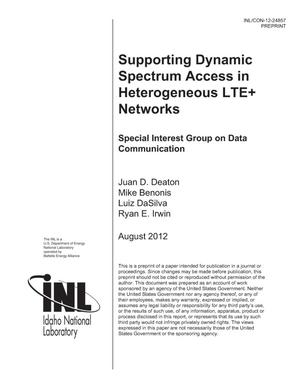 Primary view of object titled 'Supporting Dynamic Spectrum Access in Heterogeneous LTE+ Networks'.