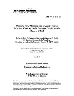 Primary view of object titled 'Magnetic Field Mapping and Integral Transfer Function Matching of the Prototype Dipoles for the NSLS-II at BNL'.