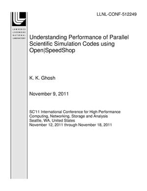 Primary view of object titled 'Understanding Performance of Parallel Scientific Simulation Codes using Open|SpeedShop'.
