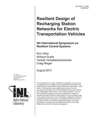 Primary view of object titled 'Resilient design of recharging station networks for electric transportation vehicles'.