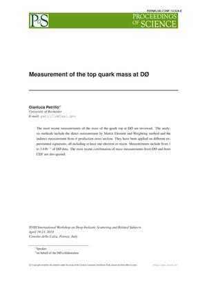 Primary view of object titled 'Measurement of the top quark mass at D0'.