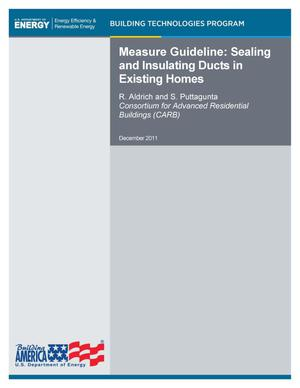 Primary view of object titled 'Measure Guideline: Sealing and Insulating of Ducts in Existing Homes'.