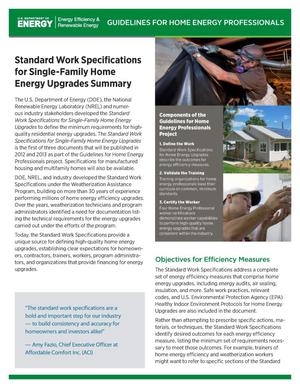 Primary view of object titled 'Standard Work Specifications for Single-Family Home Energy Upgrades Summary (Fact Sheet)'.