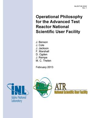 Primary view of object titled 'Operational Philosophy for the Advanced Test Reactor National Scientific User Facility'.
