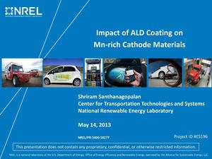 Primary view of object titled 'Impact of ALD Coating on Mn-rich Cathode Materials (Presentation)'.