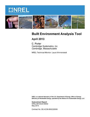 Primary view of object titled 'Built Environment Analysis Tool: April 2013'.