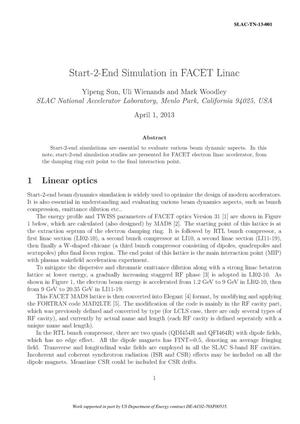 Primary view of object titled 'Start-2-End Simulation in FACET Linac'.