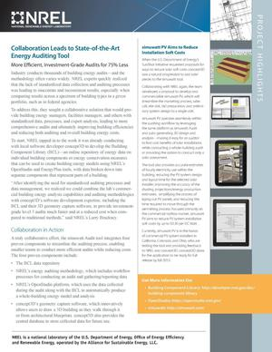 Primary view of object titled 'Collaboration Leads to State-of-the-Art Energy Auditing Tool: Project Highlights (Fact Sheet)'.