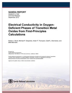 Primary view of object titled 'Electrical conductivity in oxygen-deficient phases of transition metal oxides from first-principles calculations.'.