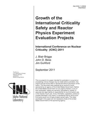 Primary view of object titled 'GROWTH OF THE INTERNATIONAL CRITICALITY SAFETY AND REACTOR PHYSICS EXPERIMENT EVALUATION PROJECTS'.
