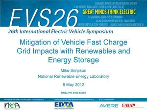 Primary view of object titled 'Mitigation of Vehicle Fast Charge Grid Impacts with Renewables and Energy Storage (Presentation)'.