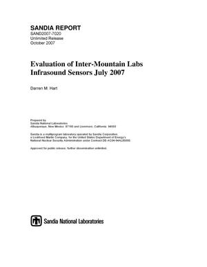 Primary view of object titled 'Evaluation of Inter-Mountain Labs infrasound sensors : July 2007.'.