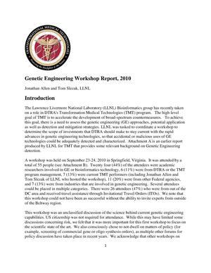 Genetic Engineering Workshop Report, 2010 - Digital Library
