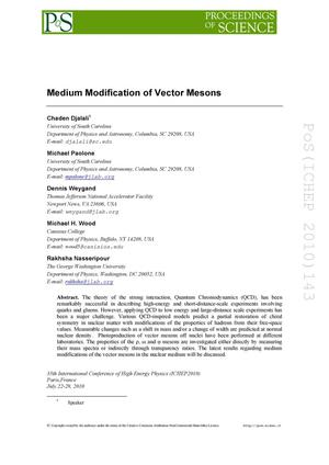 Primary view of object titled 'Medium Modification of Vector Mesons'.