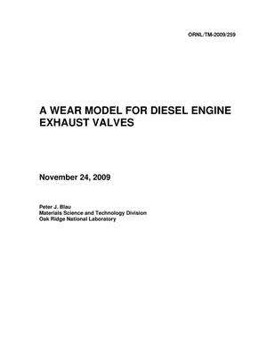 Primary view of object titled 'A WEAR MODEL FOR DIESEL ENGINE EXHAUST VALVES'.