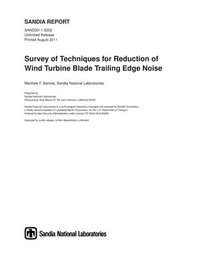 Primary view of object titled 'Survey of techniques for reduction of wind turbine blade trailing edge noise.'.