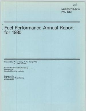 Primary view of object titled 'Fuel Performance Annual Report for 1980'.