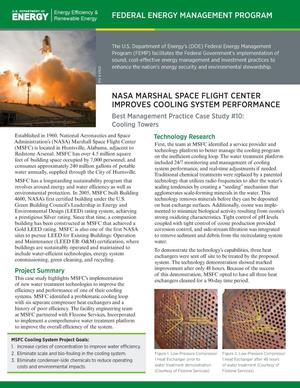 Primary view of object titled 'NASA Marshall Space Flight Center Improves Cooling System Performance: Best Management Practice Case Study #10: Cooling Towers (Fact Sheet)'.