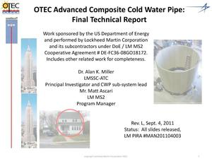 Primary view of object titled 'OTEC Advanced Composite Cold Water Pipe: Final Technical Report'.
