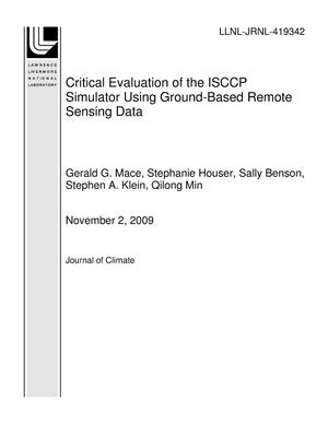 Primary view of object titled 'Critical Evaluation of the ISCCP Simulator Using Ground-Based Remote Sensing Data'.