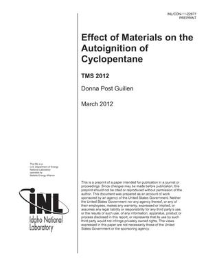 Primary view of object titled 'Effect of Materials on the Autoignition of Cyclopentane'.