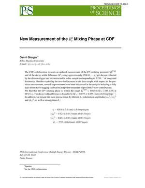 Primary view of object titled 'New Measurement of the Bs Mixing Phase at CDF'.