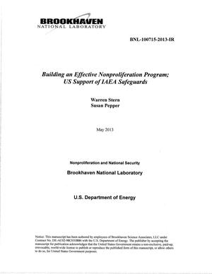 Primary view of object titled 'Building an Effective Nonproliferation Program: US Support of IAEA Safeguards'.