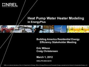 Primary view of object titled 'Heat Pump Water Heater Modeling in EnergyPlus (Presentation)'.