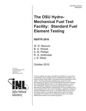 Primary view of object titled 'The OSU Hydro-Mechanical Fuel Test Facility: Standard Fuel Element Testing'.